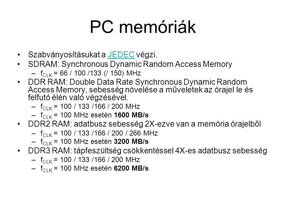 PC memóriák Szabványosításukat a JEDEC végzi.JEDEC SDRAM: Synchronous Dynamic Random Access Memory –f CLK = 66 / 100 /133 (/ 150) MHz DDR RAM: Double