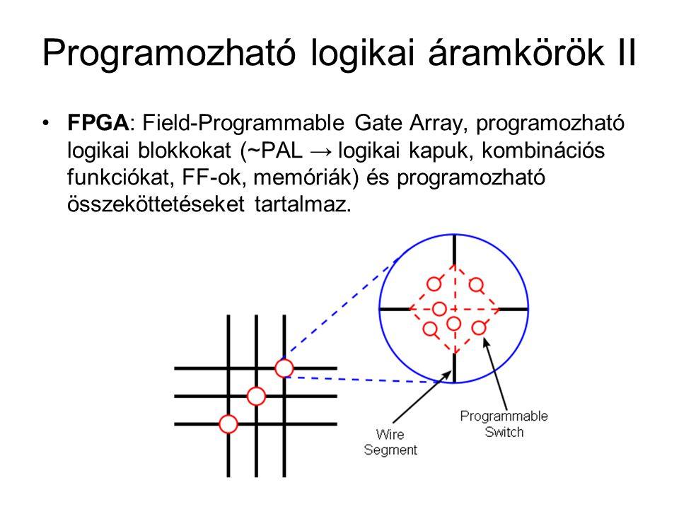 Programozható logikai áramkörök II FPGA: Field-Programmable Gate Array, programozható logikai blokkokat (~PAL → logikai kapuk, kombinációs funkciókat,