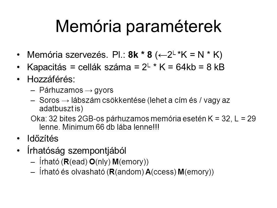 Memória paraméterek Memória szervezés. Pl.: 8k * 8 (←2 L *K = N * K) Kapacitás = cellák száma = 2 L * K = 64kb = 8 kB Hozzáférés: –Párhuzamos → gyors