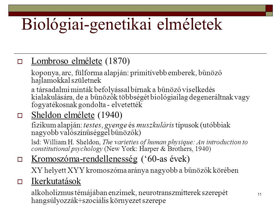 11 Biológiai-genetikai elméletek  Lombroso elmélete (1870) koponya, arc, fülforma alapján: primitívebb emberek, bűnöző hajlamokkal születnek a társad