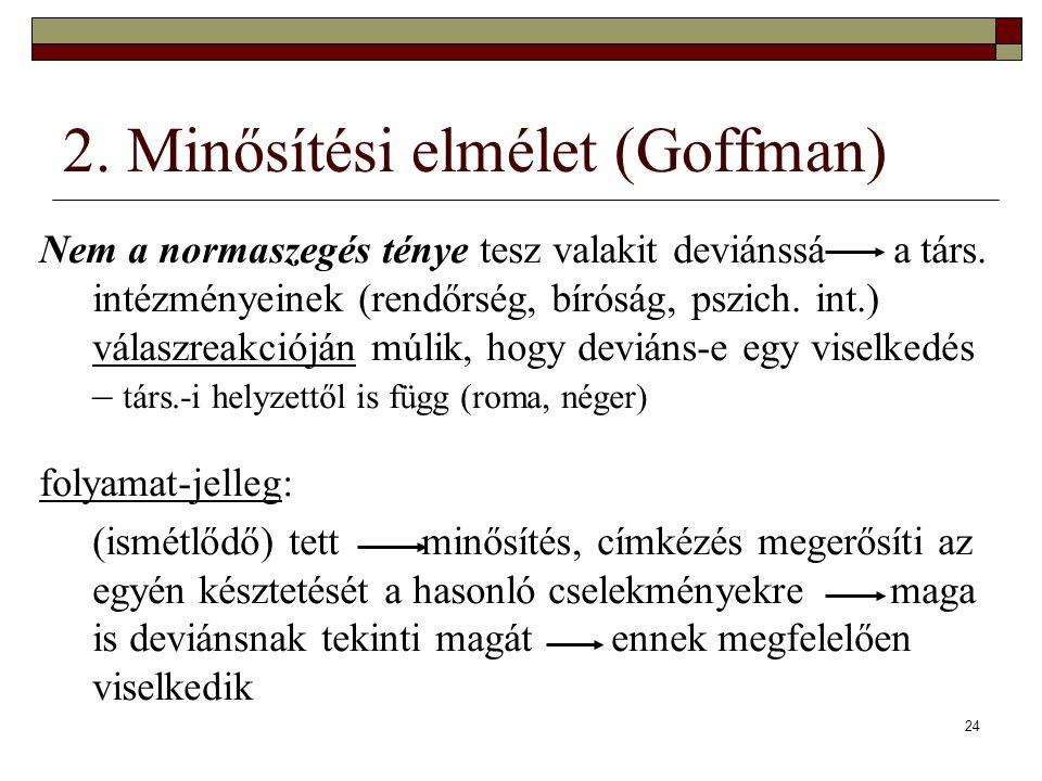 24 2. Minősítési elmélet (Goffman) Nem a normaszegés ténye tesz valakit deviánssá a társ. intézményeinek (rendőrség, bíróság, pszich. int.) válaszreak