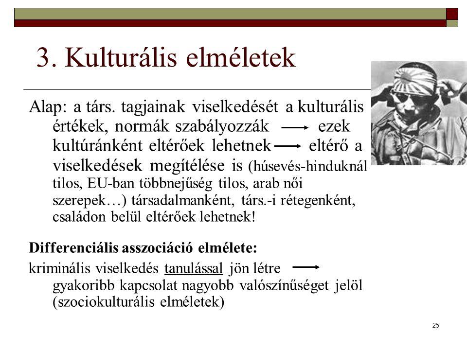 25 3. Kulturális elméletek Alap: a társ. tagjainak viselkedését a kulturális értékek, normák szabályozzák ezek kultúránként eltérőek lehetnekeltérő a