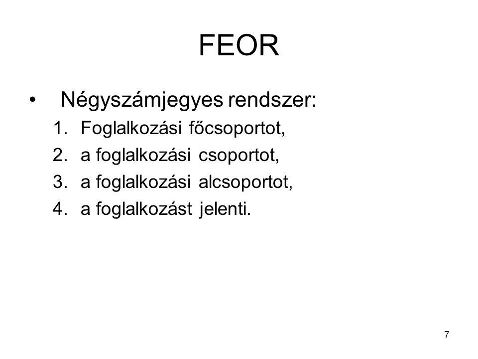 7 FEOR Négyszámjegyes rendszer: 1.Foglalkozási főcsoportot, 2.a foglalkozási csoportot, 3.a foglalkozási alcsoportot, 4.a foglalkozást jelenti.