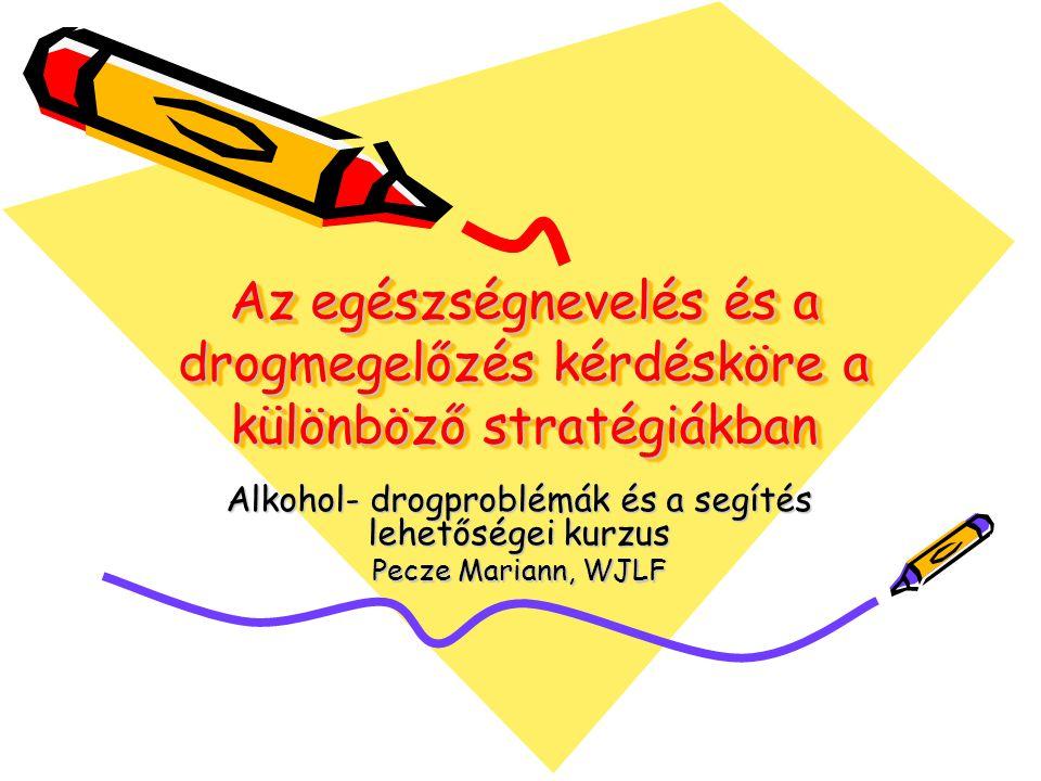 Pecze2 Az egészségnevelés tervezésének főbb stratégiái 1.Új Magyarország Fejlesztési Terv (ÚMFT) 2.Egészséges Nemzetért Népegészségügyi Program (2001-2010) 3.Egészség Évtizedének Johann Béla Nemzeti Programja 4.Nemzeti Stratégia a Kábítószer-probléma Visszaszorítására 5.Az OKM Drogprevenciós Stratégiája 6.A Társadalmi Bűnmegelőzés Nemzeti Stratégiája
