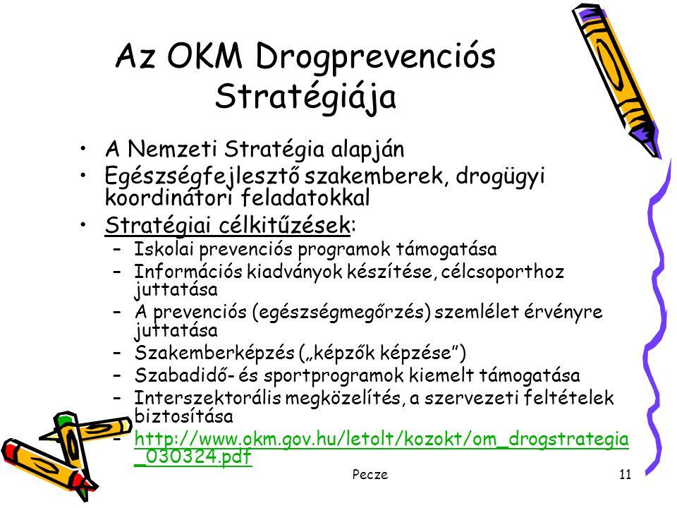 Pecze11 Az OKM Drogprevenciós Stratégiája A Nemzeti Stratégia alapján Egészségfejlesztő szakemberek, drogügyi koordinátori feladatokkal Stratégiai cél