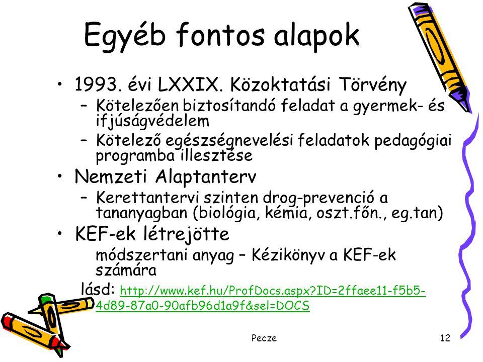 Pecze12 Egyéb fontos alapok 1993. évi LXXIX. Közoktatási Törvény –Kötelezően biztosítandó feladat a gyermek- és ifjúságvédelem –Kötelező egészségnevel