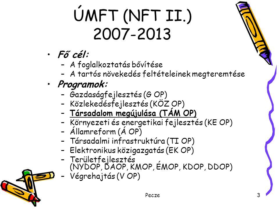 Pecze3 ÚMFT (NFT II.) 2007-2013 Fő cél: –A foglalkoztatás bővítése –A tartós növekedés feltételeinek megteremtése Programok: –Gazdaságfejlesztés (G OP