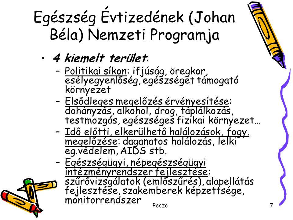 Pecze7 Egészség Évtizedének (Johan Béla) Nemzeti Programja 4 kiemelt terület: –Politikai síkon: ifjúság, öregkor, esélyegyenlőség, egészséget támogató