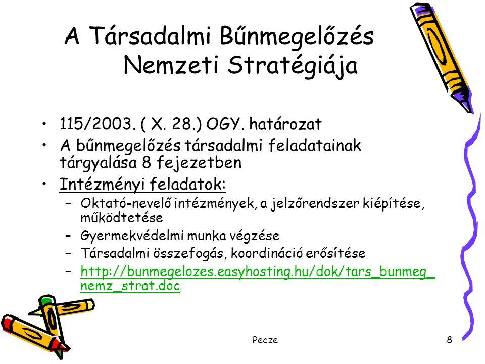 Pecze8 A Társadalmi Bűnmegelőzés Nemzeti Stratégiája 115/2003. ( X. 28.) OGY. határozat A bűnmegelőzés társadalmi feladatainak tárgyalása 8 fejezetben