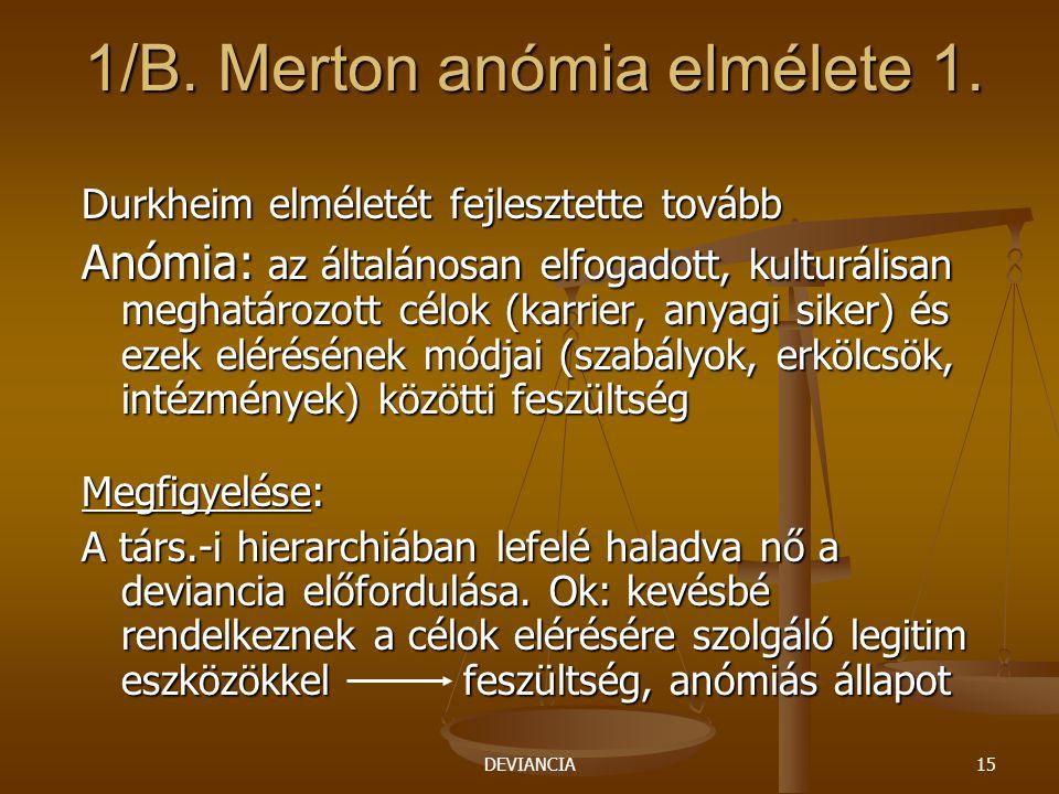 DEVIANCIA15 1/B. Merton anómia elmélete 1. Durkheim elméletét fejlesztette tovább Anómia: az általánosan elfogadott, kulturálisan meghatározott célok