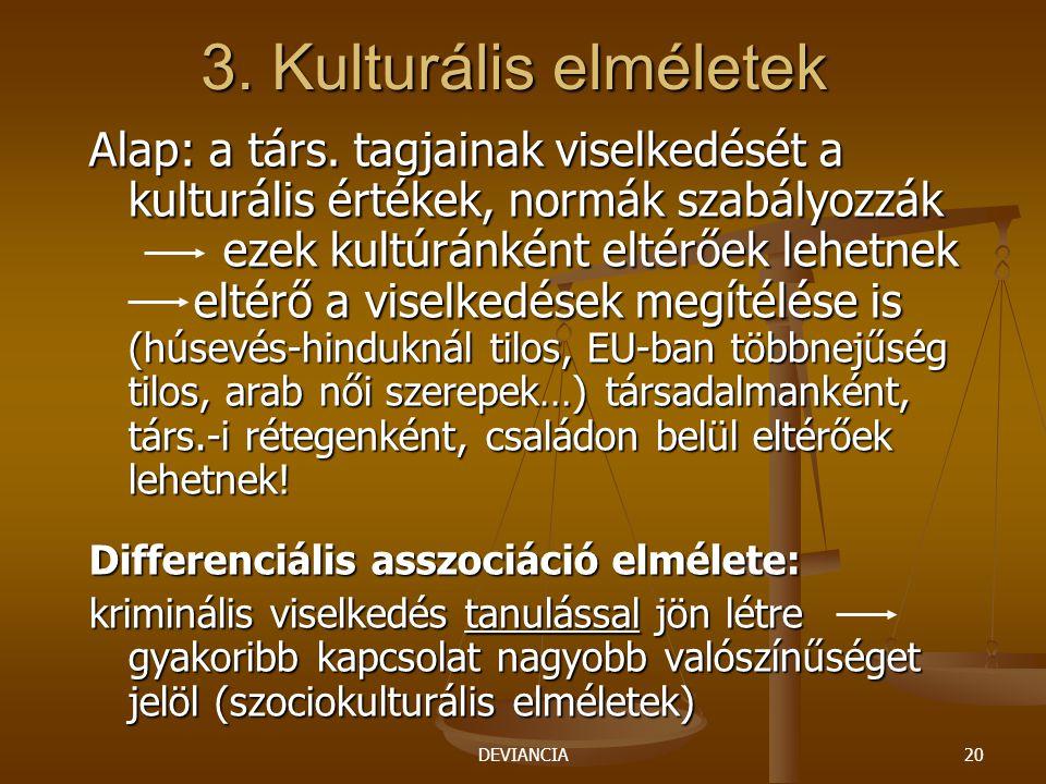 DEVIANCIA20 3. Kulturális elméletek Alap: a társ. tagjainak viselkedését a kulturális értékek, normák szabályozzák ezek kultúránként eltérőek lehetnek