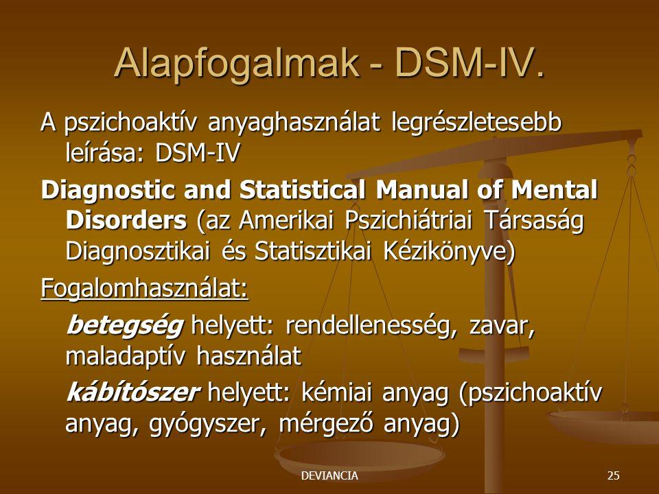 DEVIANCIA25 Alapfogalmak - DSM-IV. A pszichoaktív anyaghasználat legrészletesebb leírása: DSM-IV Diagnostic and Statistical Manual of Mental Disorders