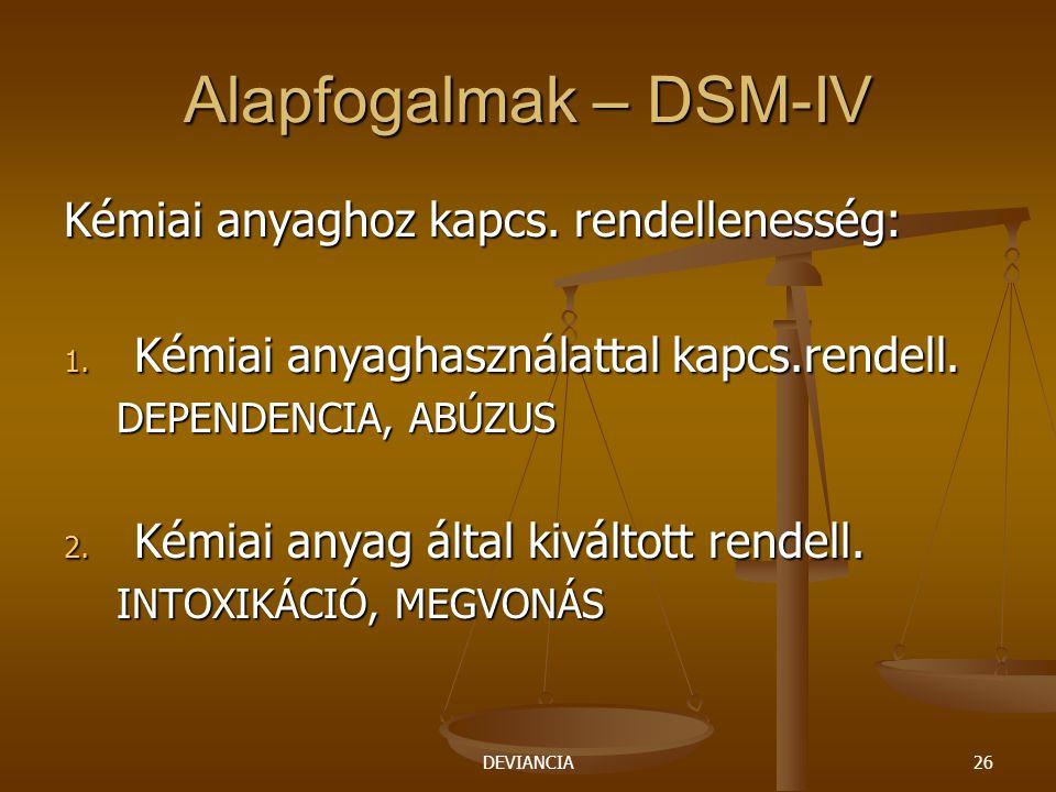 DEVIANCIA26 Alapfogalmak – DSM-IV Kémiai anyaghoz kapcs. rendellenesség: 1. Kémiai anyaghasználattal kapcs.rendell. DEPENDENCIA, ABÚZUS 2. Kémiai anya