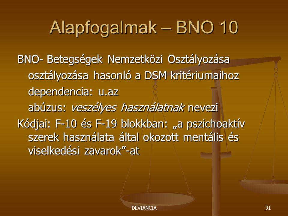 """DEVIANCIA31 Alapfogalmak – BNO 10 BNO- Betegségek Nemzetközi Osztályozása osztályozása hasonló a DSM kritériumaihoz dependencia: u.az abúzus: veszélyes használatnak nevezi Kódjai: F-10 és F-19 blokkban: """"a pszichoaktív szerek használata által okozott mentális és viselkedési zavarok -at"""
