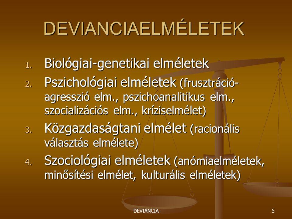 DEVIANCIA5 DEVIANCIAELMÉLETEK 1. Biológiai-genetikai elméletek 2. Pszichológiai elméletek (frusztráció- agresszió elm., pszichoanalitikus elm., szocia