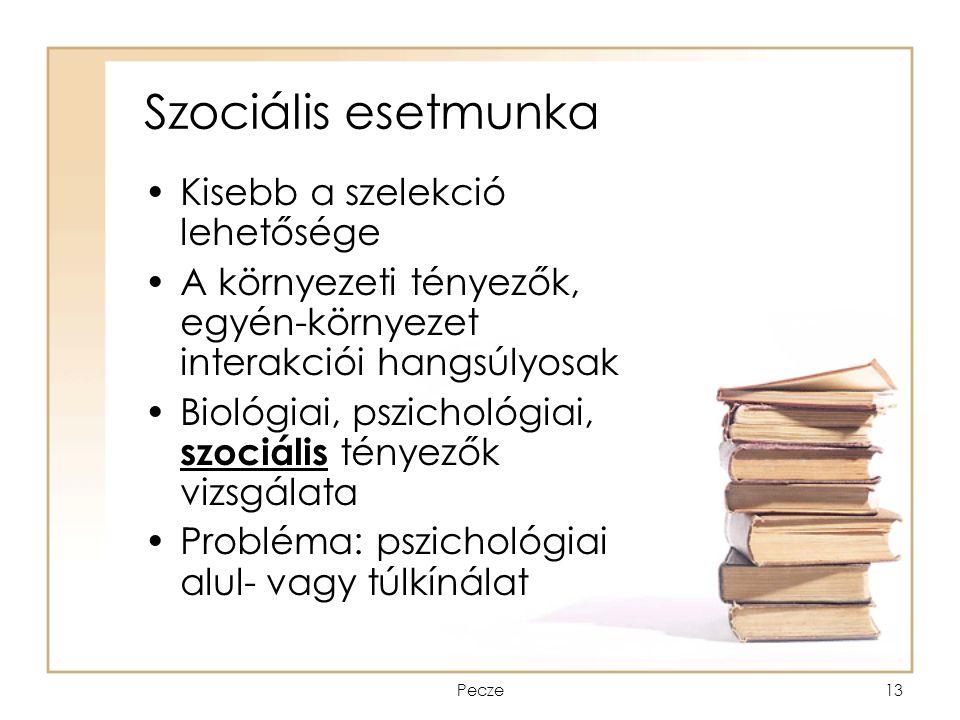 Pecze13 Szociális esetmunka Kisebb a szelekció lehetősége A környezeti tényezők, egyén-környezet interakciói hangsúlyosak Biológiai, pszichológiai, sz