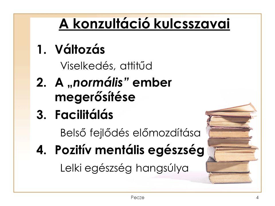 """Pecze4 A konzultáció kulcsszavai 1.Változás Viselkedés, attitűd 2.A """" normális"""" ember megerősítése 3.Facilitálás Belső fejlődés előmozdítása 4.Pozitív"""