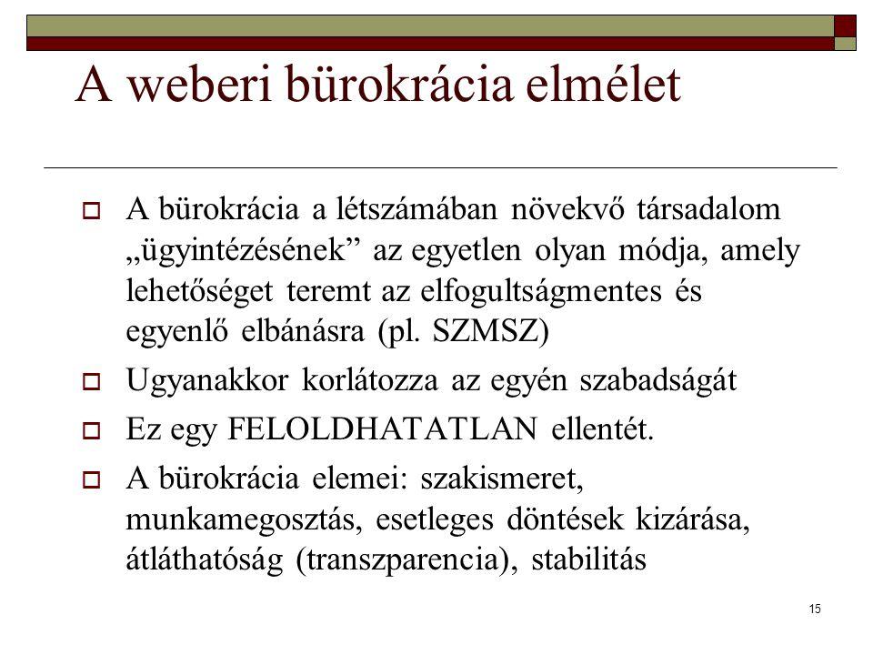 """15 A weberi bürokrácia elmélet  A bürokrácia a létszámában növekvő társadalom """"ügyintézésének az egyetlen olyan módja, amely lehetőséget teremt az elfogultságmentes és egyenlő elbánásra (pl."""