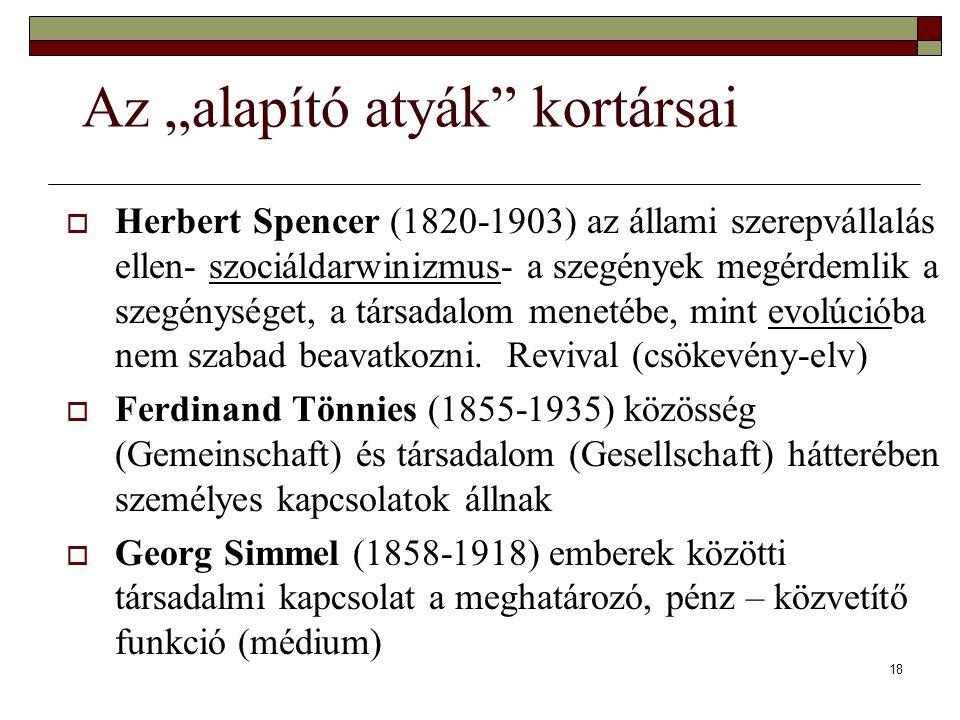 """18 Az """"alapító atyák kortársai  Herbert Spencer (1820-1903) az állami szerepvállalás ellen- szociáldarwinizmus- a szegények megérdemlik a szegénységet, a társadalom menetébe, mint evolúcióba nem szabad beavatkozni."""