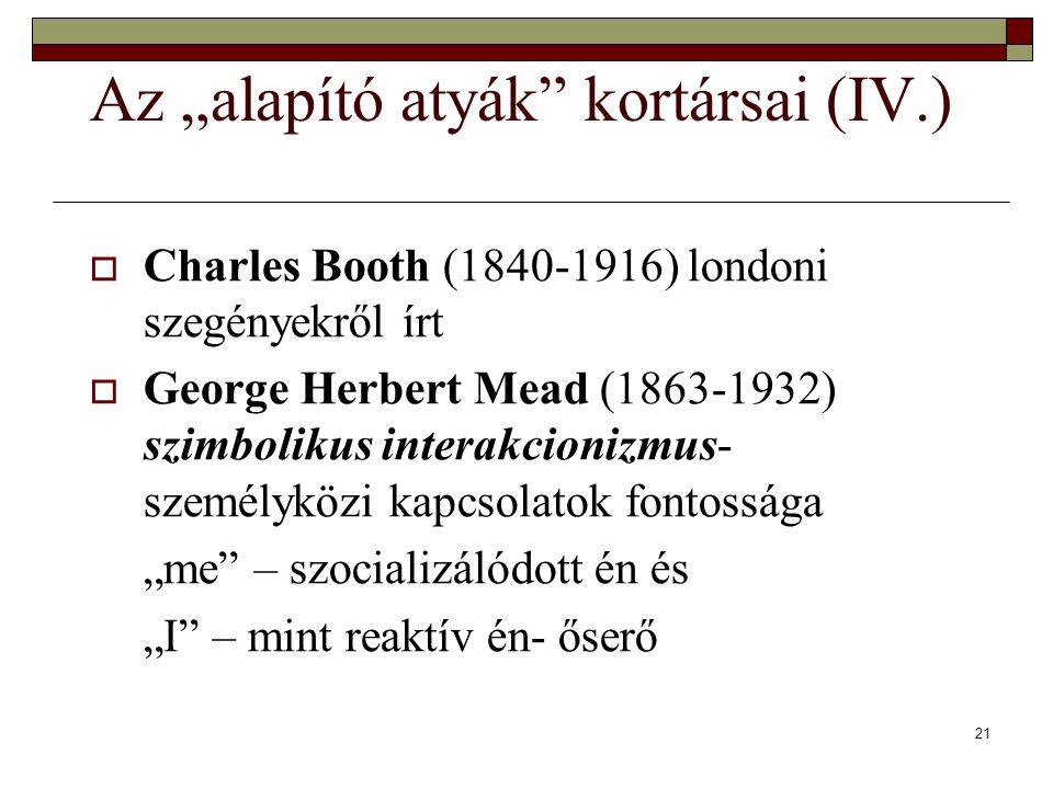 """21 Az """"alapító atyák kortársai (IV.)  Charles Booth (1840-1916) londoni szegényekről írt  George Herbert Mead (1863-1932) szimbolikus interakcionizmus- személyközi kapcsolatok fontossága """"me – szocializálódott én és """"I – mint reaktív én- őserő"""