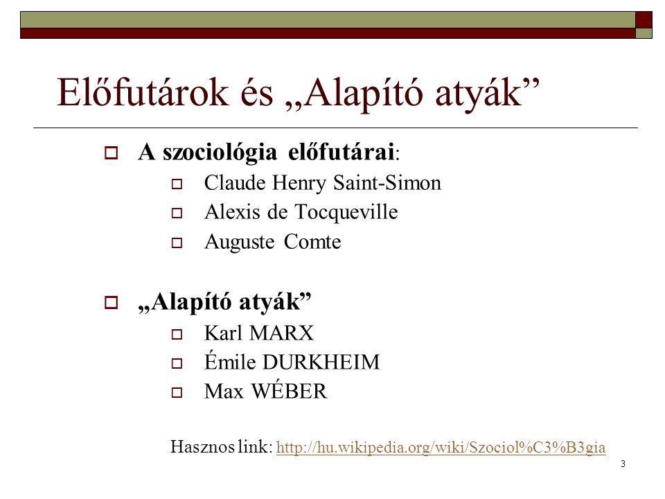"""3 Előfutárok és """"Alapító atyák""""  A szociológia előfutárai :  Claude Henry Saint-Simon  Alexis de Tocqueville  Auguste Comte  """"Alapító atyák""""  Ka"""