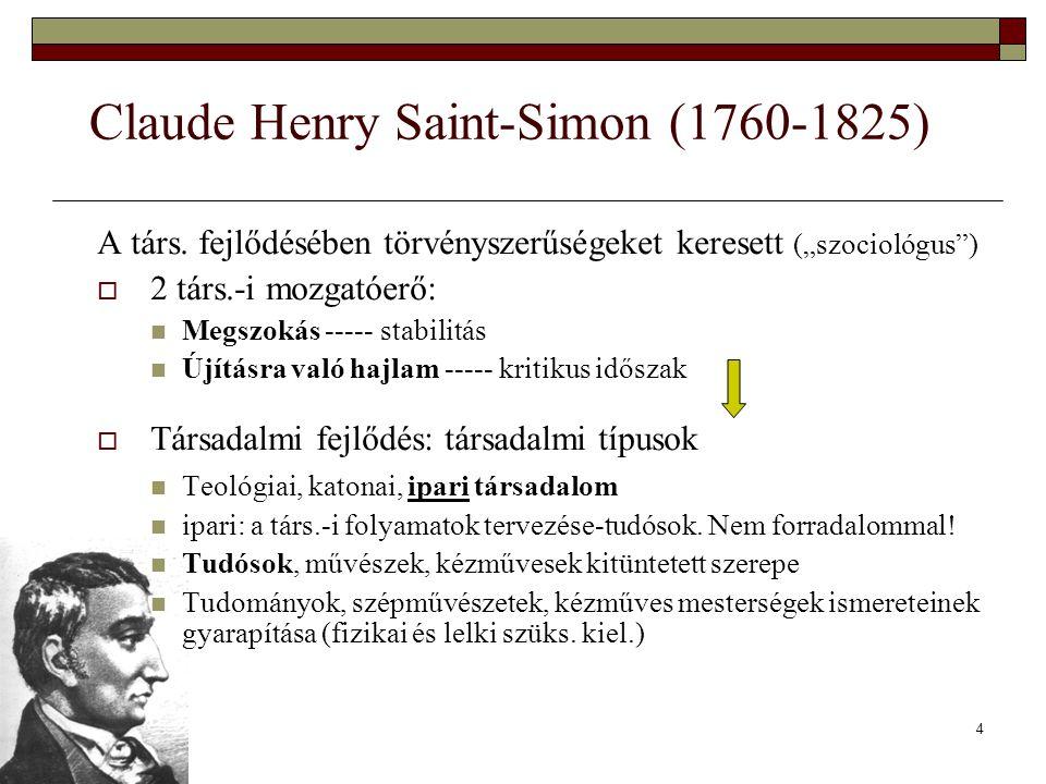 """4 Claude Henry Saint-Simon (1760-1825) A társ. fejlődésében törvényszerűségeket keresett (""""szociológus"""")  2 társ.-i mozgatóerő: Megszokás ----- stabi"""