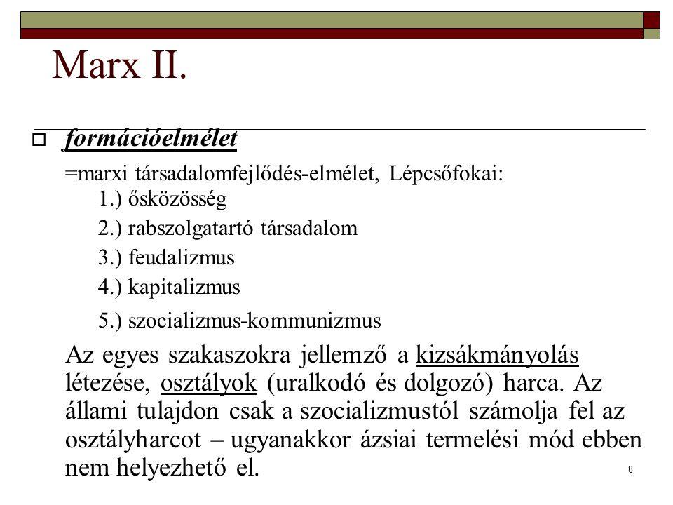 8 Marx II.  formációelmélet =marxi társadalomfejlődés-elmélet, Lépcsőfokai: 1.) ősközösség 2.) rabszolgatartó társadalom 3.) feudalizmus 4.) kapitali