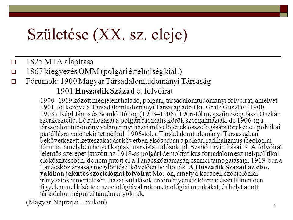 A magyar szociológia tördelt fejlődése összefoglalás