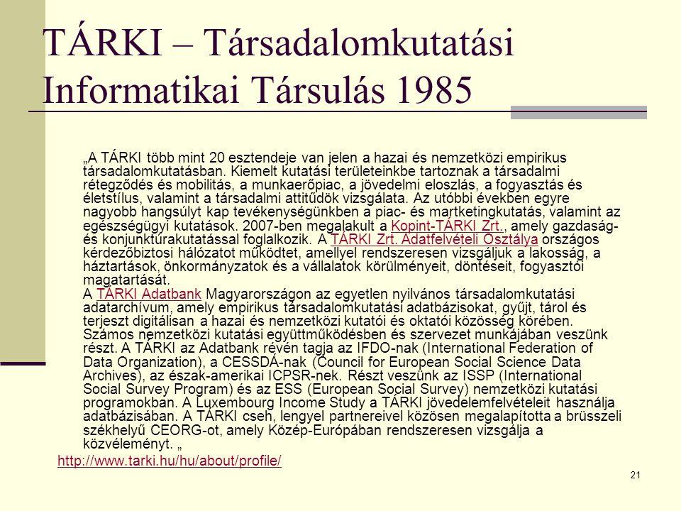 """21 TÁRKI – Társadalomkutatási Informatikai Társulás 1985 """"A TÁRKI több mint 20 esztendeje van jelen a hazai és nemzetközi empirikus társadalomkutatásban."""