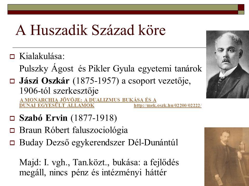 3 A Huszadik Század köre  Kialakulása: Pulszky Ágost és Pikler Gyula egyetemi tanárok  Jászi Oszkár (1875-1957) a csoport vezetője, 1906-tól szerkesztője A MONARCHIA JÖVŐJE: A DUALIZMUS BUKÁSA ÉS A DUNAI EGYESÜLT ÁLLAMOK http://mek.oszk.hu/02200/02222/A MONARCHIA JÖVŐJE: A DUALIZMUS BUKÁSA ÉS A DUNAI EGYESÜLT ÁLLAMOK http://mek.oszk.hu/02200/02222/  Szabó Ervin (1877-1918)  Braun Róbert faluszociológia  Buday Dezső egykerendszer Dél-Dunántúl Majd: I.