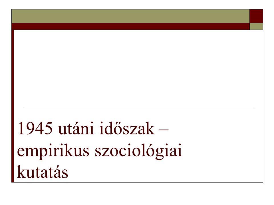 9  Erőszakos, nagymértékű társadalmi mobilitás  Szociológiai kezdemények elnyomása - Szalai Sándor (ELTE Szociológia tanszék vezetője) – letartóztatás 1950, tanszék megszűnése (hallgatók: Cseh-Szombathy, Andorka)  Itt: munkásosztály lekérdezése (1500 kérdőív 150 kérdéssel)  Bibó István munkássága ( A kelet-európai kisállamok nyomorúsága, Zsidókérdés Magyarországon 1944 után )A kelet-európai kisállamok nyomorúságaZsidókérdés Magyarországon 1944 után  Szociológia – burzsoá áltudomány