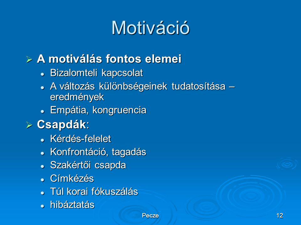 Pecze12 Motiváció  A motiválás fontos elemei Bizalomteli kapcsolat Bizalomteli kapcsolat A változás különbségeinek tudatosítása – eredmények A változ