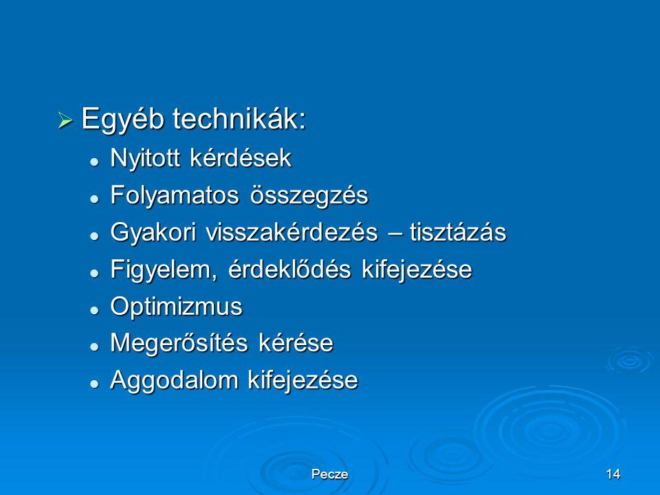 Pecze14  Egyéb technikák: Nyitott kérdések Nyitott kérdések Folyamatos összegzés Folyamatos összegzés Gyakori visszakérdezés – tisztázás Gyakori viss