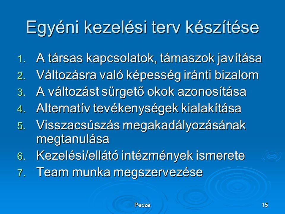 Pecze15 Egyéni kezelési terv készítése 1. A társas kapcsolatok, támaszok javítása 2. Változásra való képesség iránti bizalom 3. A változást sürgető ok