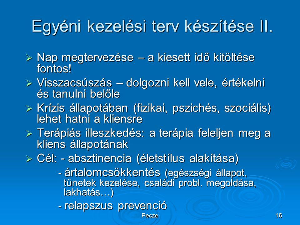Pecze16 Egyéni kezelési terv készítése II.  Nap megtervezése – a kiesett idő kitöltése fontos!  Visszacsúszás – dolgozni kell vele, értékelni és tan