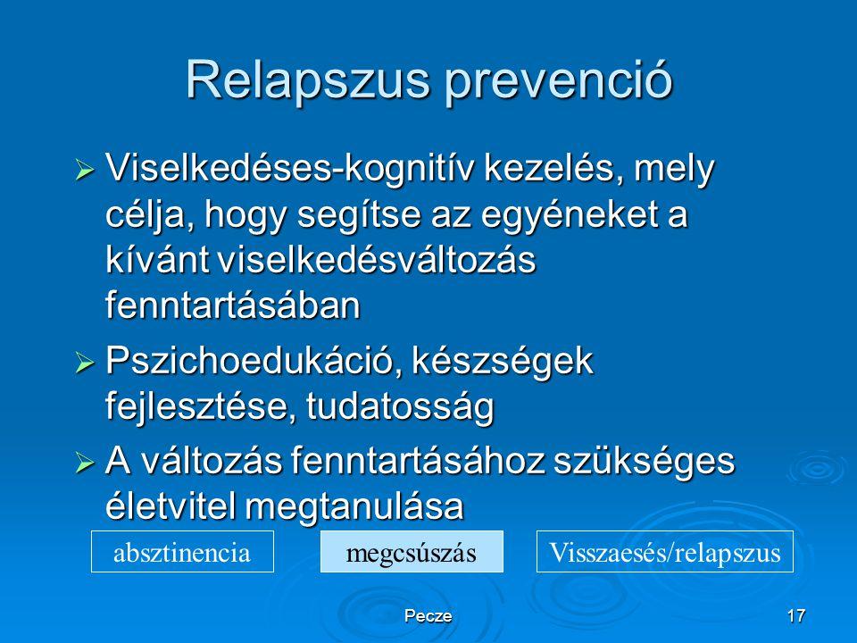 Pecze17 Relapszus prevenció  Viselkedéses-kognitív kezelés, mely célja, hogy segítse az egyéneket a kívánt viselkedésváltozás fenntartásában  Pszich