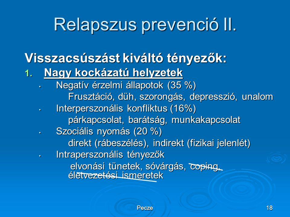 Pecze18 Relapszus prevenció II. Visszacsúszást kiváltó tényezők: 1. Nagy kockázatú helyzetek Negatív érzelmi állapotok (35 %) Negatív érzelmi állapoto