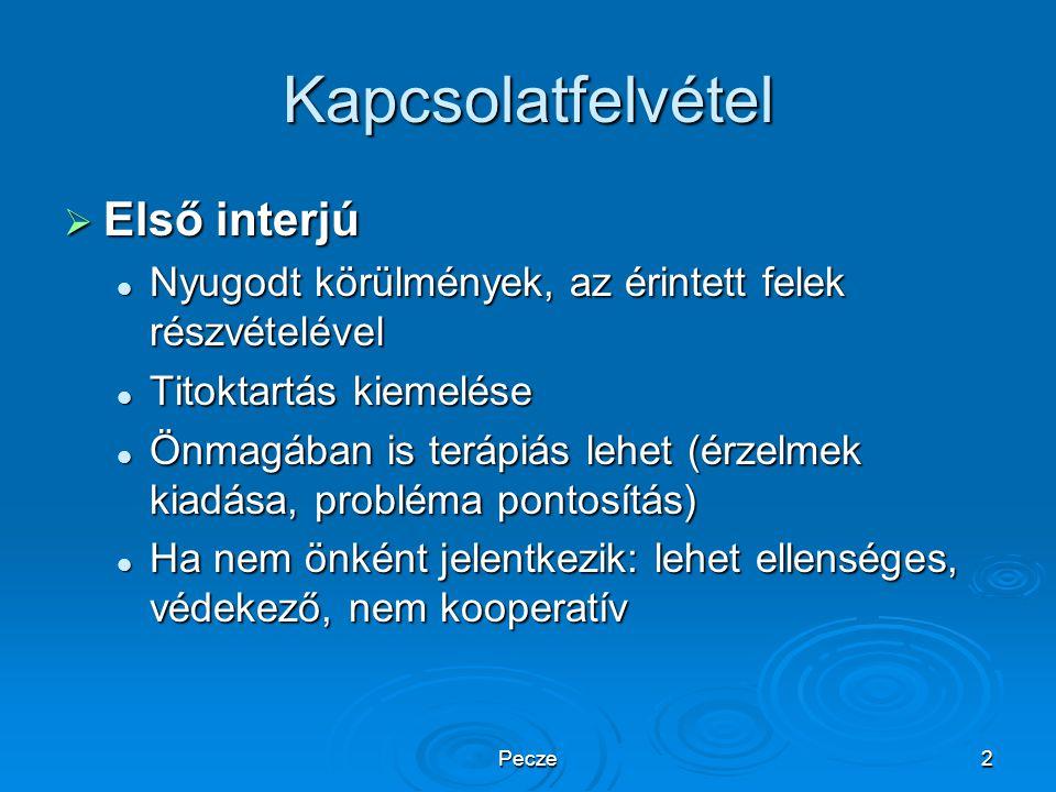Pecze2 Kapcsolatfelvétel  Első interjú Nyugodt körülmények, az érintett felek részvételével Nyugodt körülmények, az érintett felek részvételével Tito