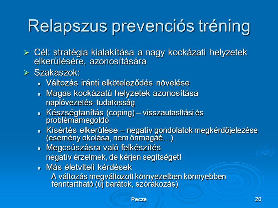 Pecze20 Relapszus prevenciós tréning  Cél: stratégia kialakítása a nagy kockázati helyzetek elkerülésére, azonosítására  Szakaszok: Változás iránti