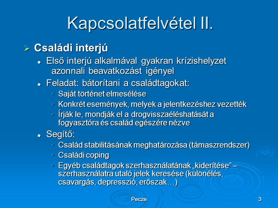 Pecze3 Kapcsolatfelvétel II.  Családi interjú Első interjú alkalmával gyakran krízishelyzet azonnali beavatkozást igényel Első interjú alkalmával gya