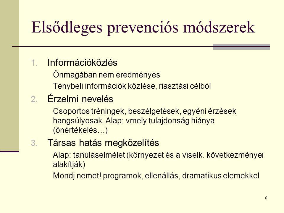 6 Elsődleges prevenciós módszerek 1. Információközlés Önmagában nem eredményes Ténybeli információk közlése, riasztási célból 2. Érzelmi nevelés Csopo