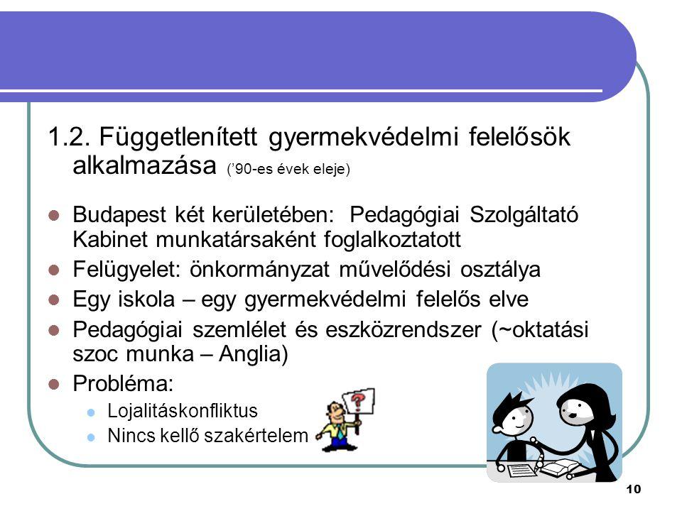 10 1.2. Függetlenített gyermekvédelmi felelősök alkalmazása ('90-es évek eleje) Budapest két kerületében: Pedagógiai Szolgáltató Kabinet munkatársakén