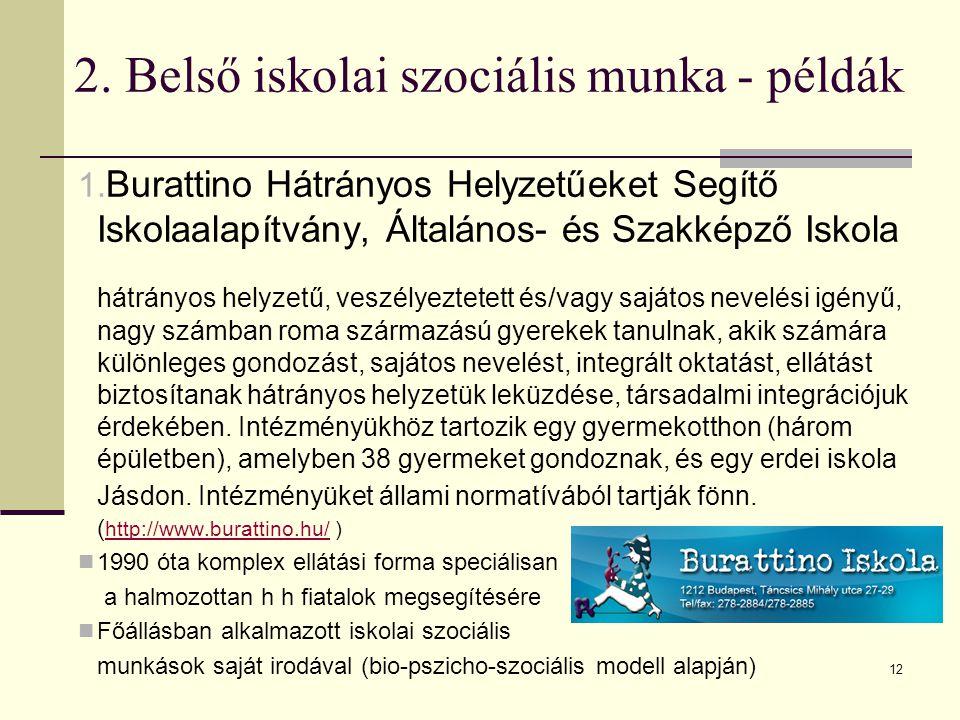 12 2. Belső iskolai szociális munka - példák 1. Burattino Hátrányos Helyzetűeket Segítő Iskolaalapítvány, Általános- és Szakképző Iskola hátrányos hel