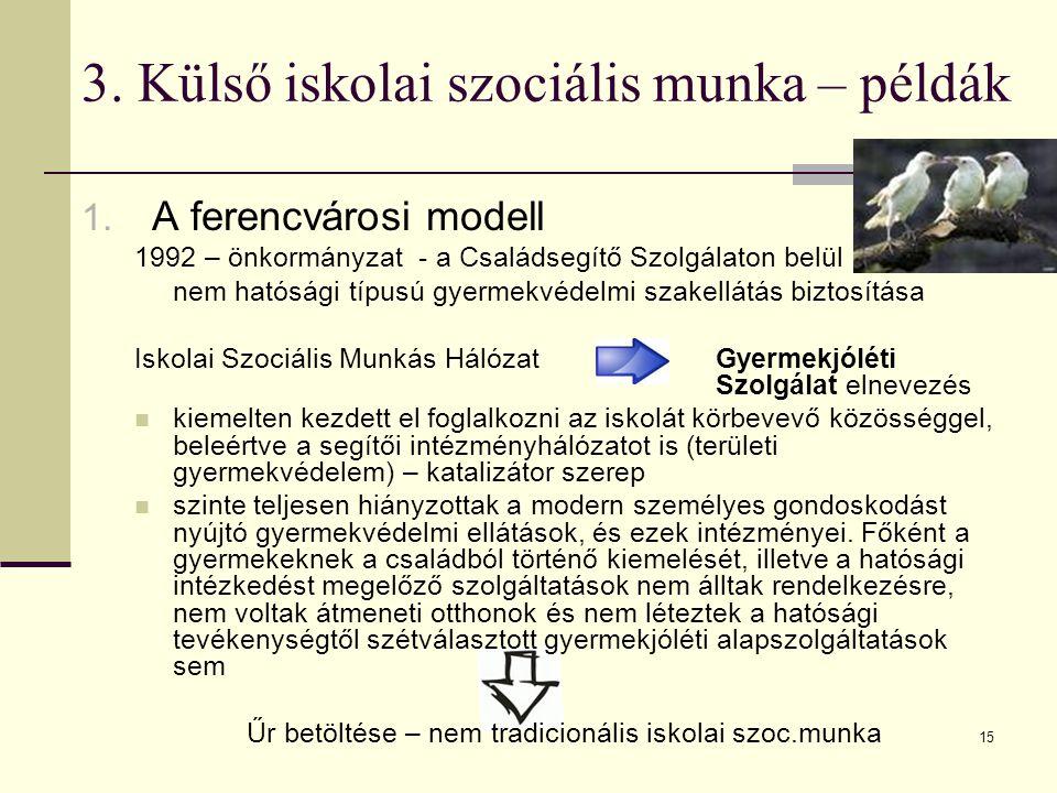 15 3. Külső iskolai szociális munka – példák 1. A ferencvárosi modell 1992 – önkormányzat - a Családsegítő Szolgálaton belül nem hatósági típusú gyerm