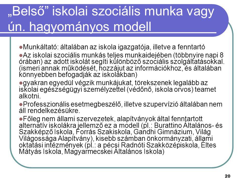 """20 """"Belső"""" iskolai szociális munka vagy ún. hagyományos modell Munkáltató: általában az iskola igazgatója, illetve a fenntartó Az iskolai szociális mu"""