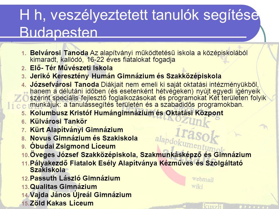 23 H h, veszélyeztetett tanulók segítése Budapesten 1. Belvárosi Tanoda Az alapítványi működtetésű iskola a középiskolából kimaradt, kallódó, 16-22 év