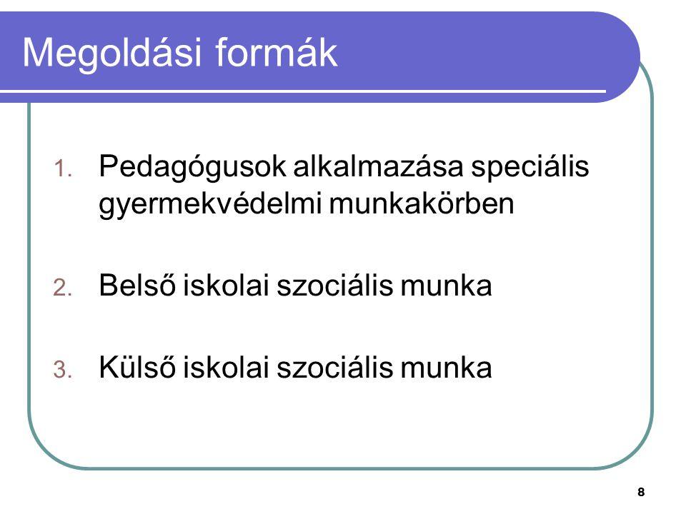 8 Megoldási formák 1. Pedagógusok alkalmazása speciális gyermekvédelmi munkakörben 2. Belső iskolai szociális munka 3. Külső iskolai szociális munka
