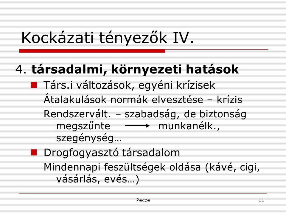 Pecze11 Kockázati tényezők IV. 4. társadalmi, környezeti hatások Társ.i változások, egyéni krízisek Átalakulások normák elvesztése – krízis Rendszervá