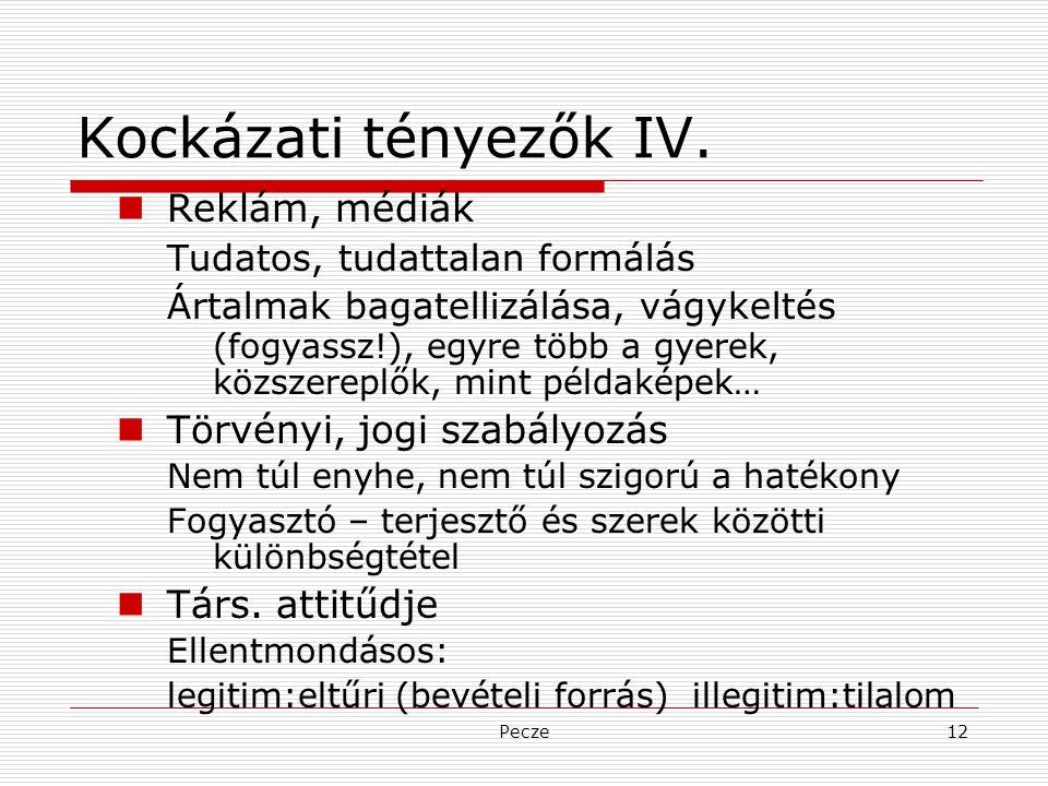 Pecze12 Kockázati tényezők IV. Reklám, médiák Tudatos, tudattalan formálás Ártalmak bagatellizálása, vágykeltés (fogyassz!), egyre több a gyerek, közs
