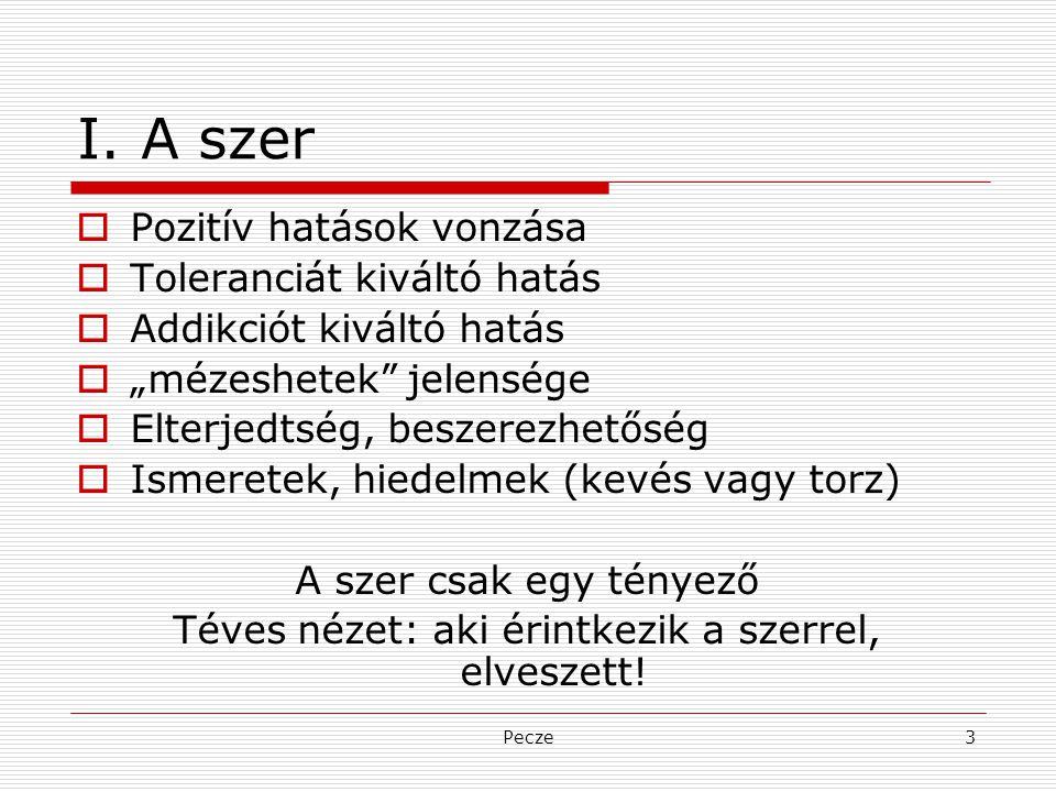 """Pecze3 I. A szer  Pozitív hatások vonzása  Toleranciát kiváltó hatás  Addikciót kiváltó hatás  """"mézeshetek"""" jelensége  Elterjedtség, beszerezhető"""